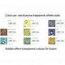 Colori in polvere trasparenti per vetrofusione - float compatibile effetto bolle