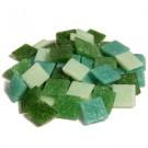 Tessere mosaico vetroso 1x1 Mix di verdi