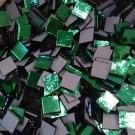 Tessere specchio colorato per mosaico - Verde 1,5x1,5 Cm.