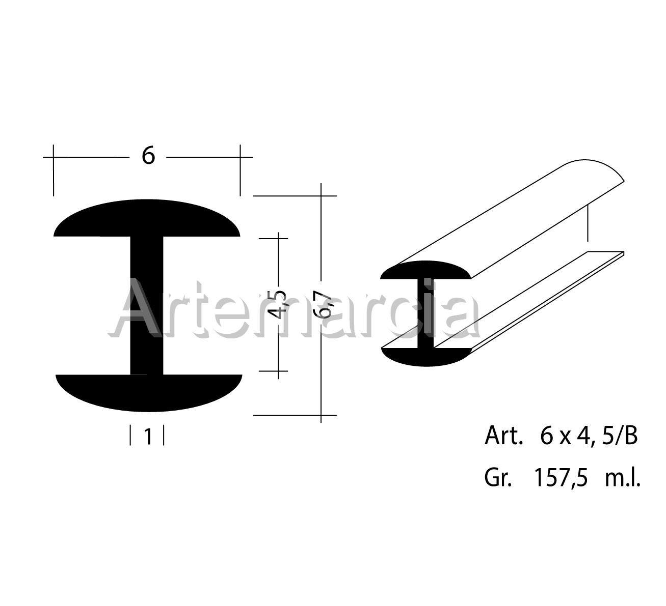 Profilo in piombo ad H misura 6x4,5 mm.