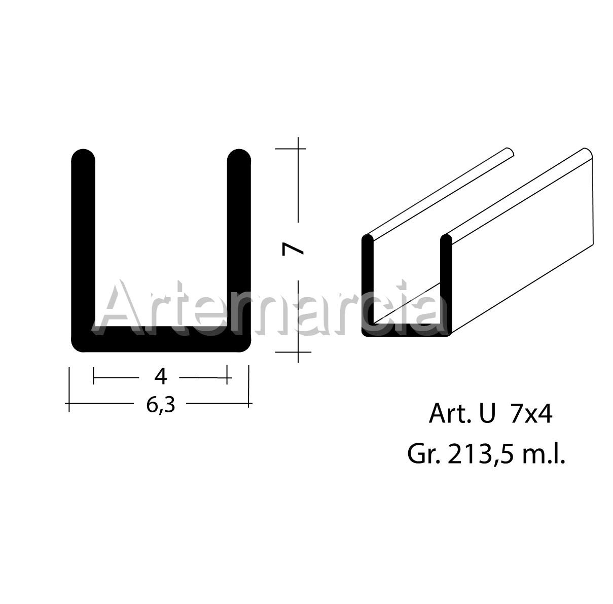 Profilo in piombo ad U misura 6x5 mm.