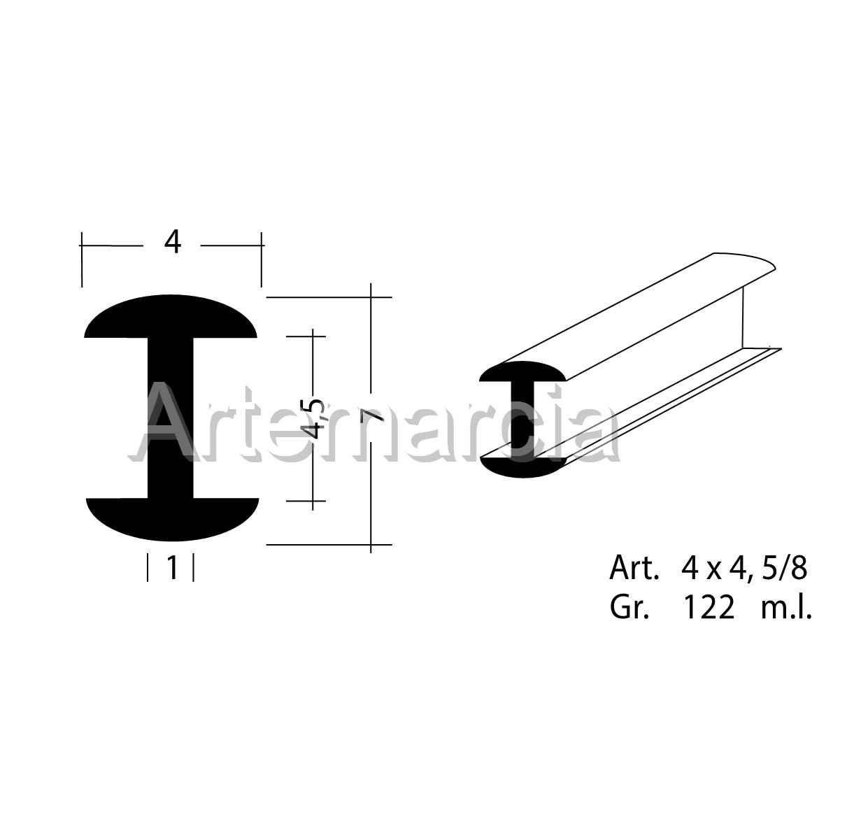 Profilo in piombo ad H misura 4x4,5 mm.