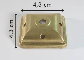 Calotta quadrata in ottone per lampada tiffany 4,3 cm.