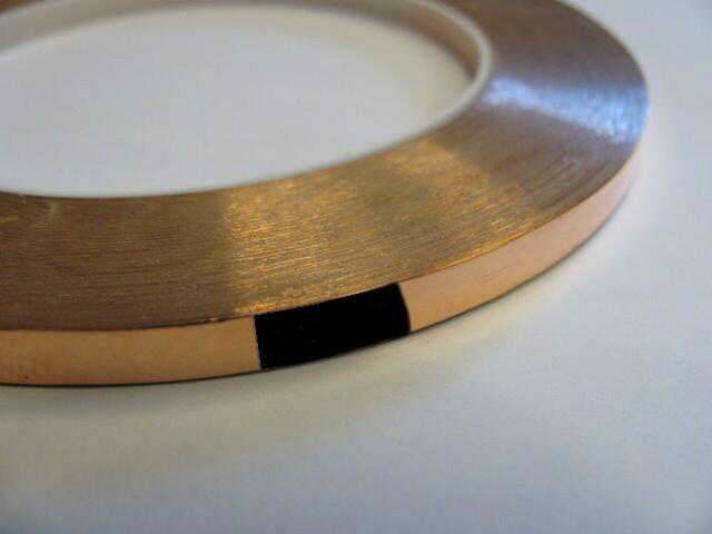 Nastro di rame adesivo 8,00 mm (rame-nero) per tiffany