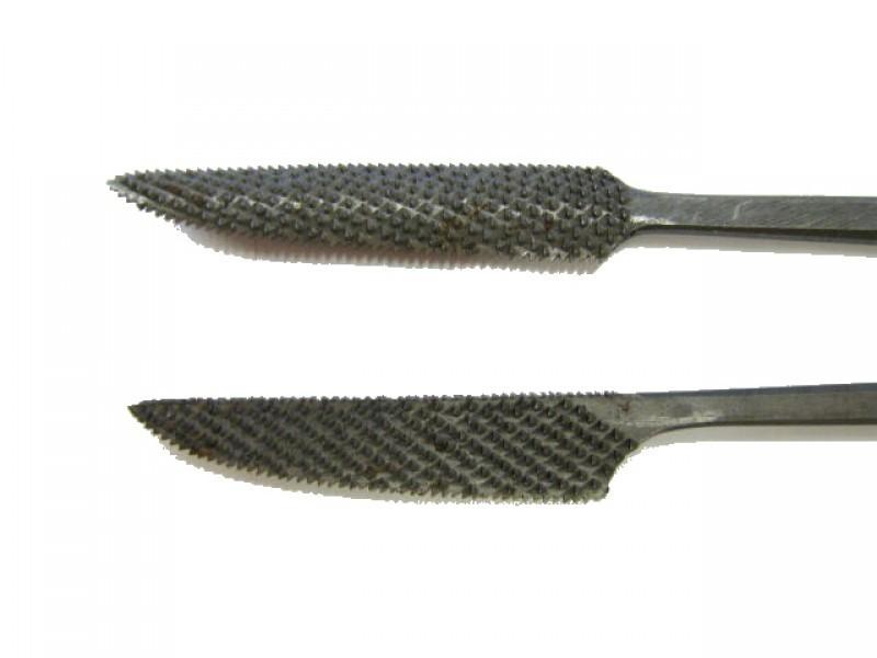 Raspa in acciaio temperato e lavorata a mano, forma cod.  657